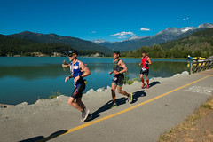 SUBARU Ironman running stage alongside Green Lake