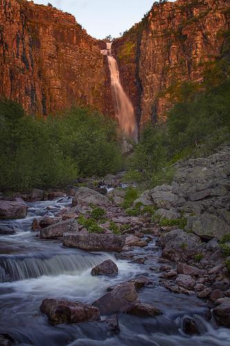 morning nature sunshine sunrise landscape waterfall sweden sverige dalarna särna njupeskär fulufjället njupån
