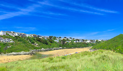 River Gannel and Crantock beach, Newquay, Cornwall panorama by Thomas Tolkien