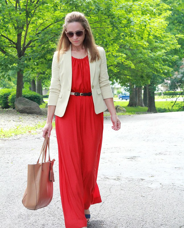 how to style a maxi for work via Kristina J blog