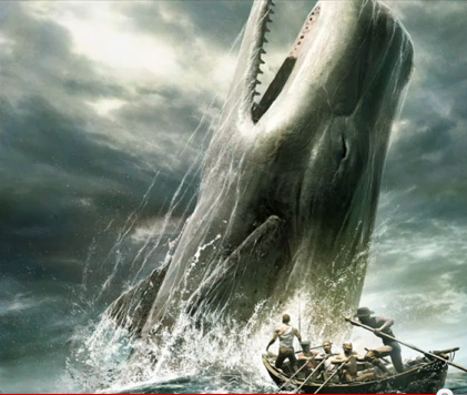《白鲸》中Moby Dick跃出水面