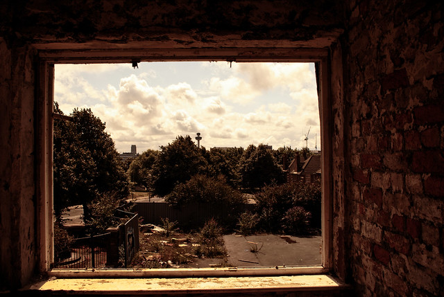 Eldon Grove tenements Liverpool - view over to Liverpool