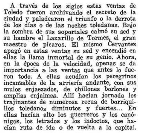 Descripción de las Ventas de Toledo por Luis Moreno Nieto en el diccionario de la provincia de Toledo. Revista provincia 1974 2
