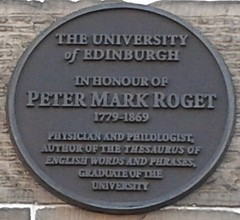Photo of Peter Mark Roget black plaque
