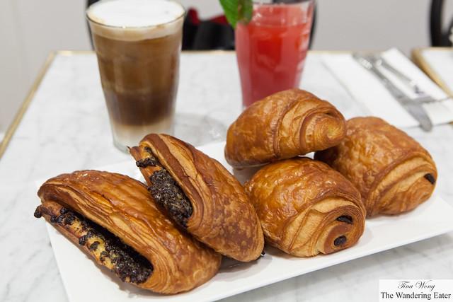 Pain au chocolat (Chocolate Croissant) & Plié au chocolat (Chocolate & Custard Croissant)