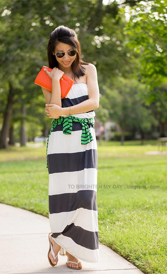 rugby striped maxi dress, striped shirt, orange clutch