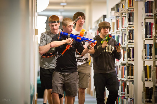 Students meet in the Z. Smith Reynolds Library to play Humans vs. Zombies, an action-packed role playing game of tag.