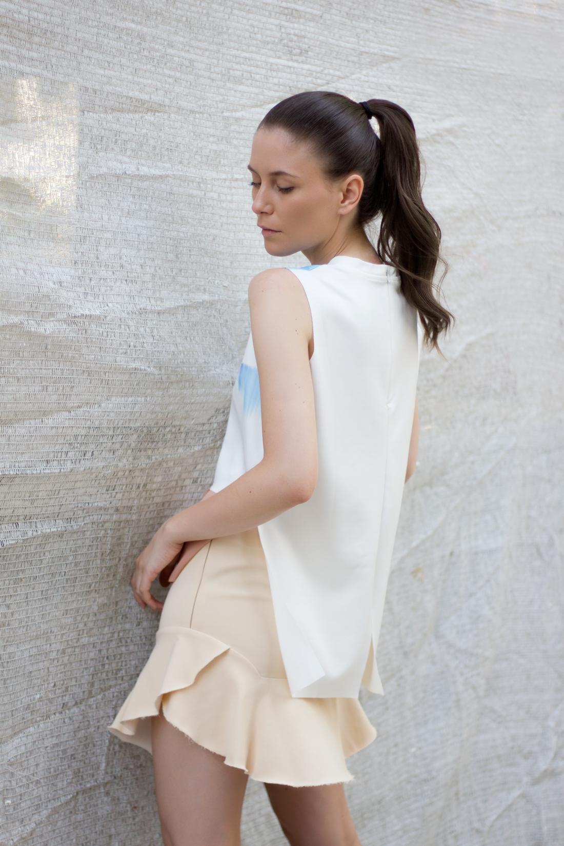 Zara Nude Skirt   Oasap Top   AfterTwoFive.com
