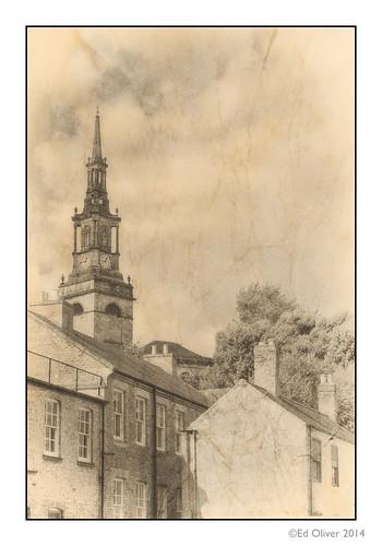uk blackandwhite tower rooftops churchtower clocktower spire aged toned chimneys allsaints newcastleupontyne onone creased churchspire tyneandwear newcastlequayside ukchurches nikplugins canonef70200mmf28lisii