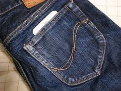 iPhone 6 Plue(型紙)とジーンズのポケット
