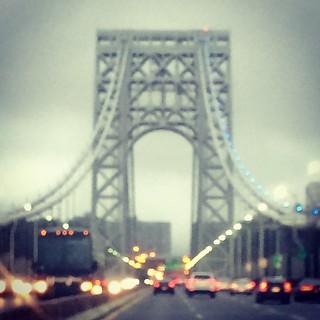 George Washington Bridge on a muggy Saturday evening... #mynyc #mynewyork #georgewashingtonbridge #rainynight