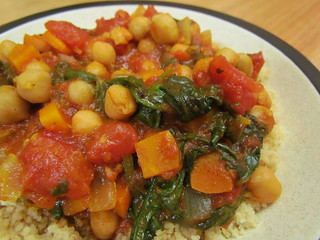 Moroccan Chickpeas with Tomatoes and Spinach