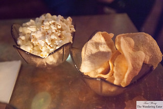 Bar snacks of popcorn and chips
