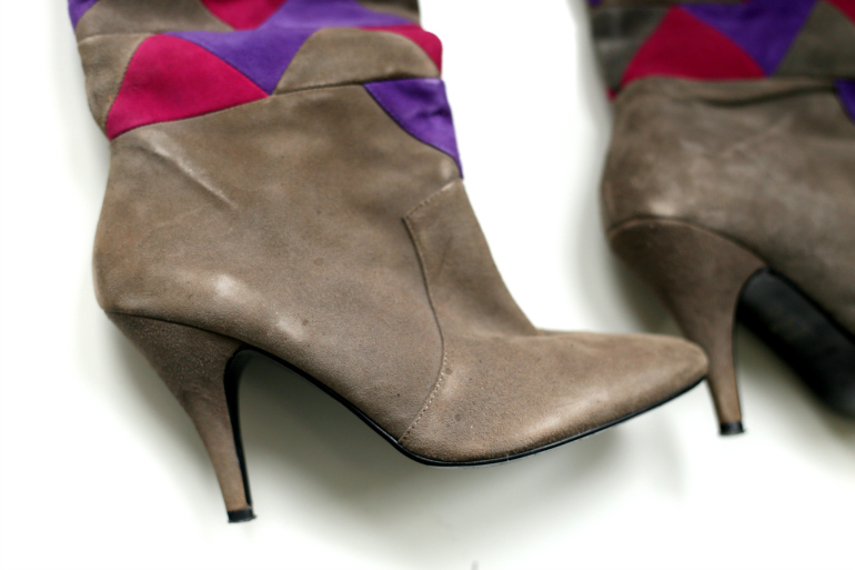 office grijze roze paarse laarzen met hak 2