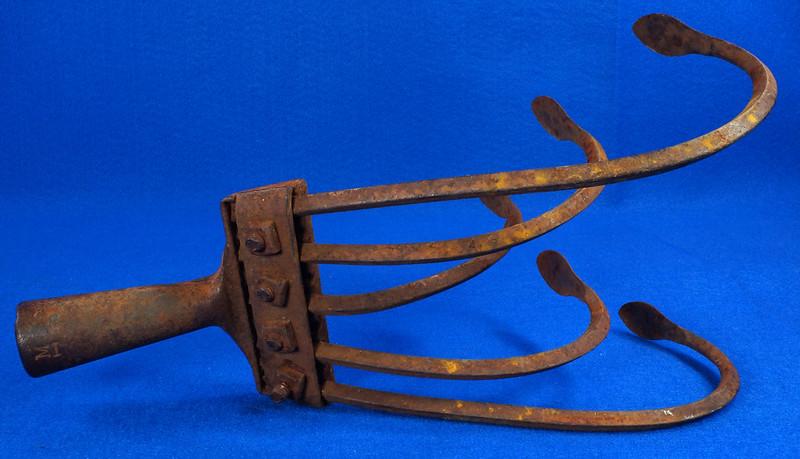 RD15253 Vintage Norcross 55 Garden Cultivator Head 5 Tine Plow Rake Claw Metal Farm Tool DSC08761