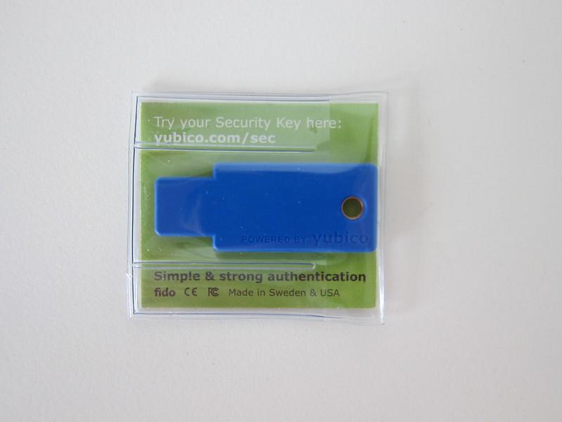Yubico FIDO U2F Security Key - Packaging Back