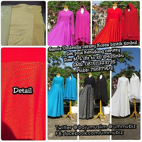 Gamis Umbrella bintik timbul Set plus Kerudung cerutty Size M, L (fit to xl) @425ribu SMS: 081511223725 Pinbb: 756F79D2