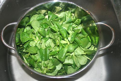 35 - Feldsalat abtropfen lassen / Drain salad