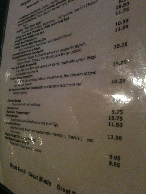 Fairview Pub menu