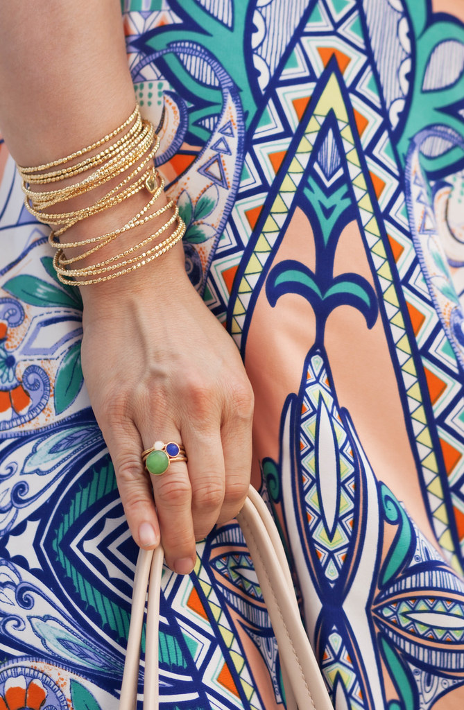 cute & little blog | petite fashion | the mint julep boutique peach tribal printed maxi, stella dot florence stackable rings, stella dot bardot spiral bangle | accessories