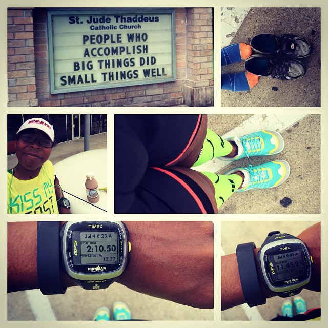13.23 miles today for #America. I saw this sign on the run and it was what I needed to read. I also did a shoe change from my #asicsnimbus to @altrazerodrop. I got new shoes for my birthday and I wanted to try them out. It was a cloudy morning but the hum
