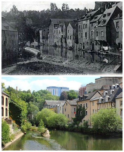 River Alzette at Grund, then and now