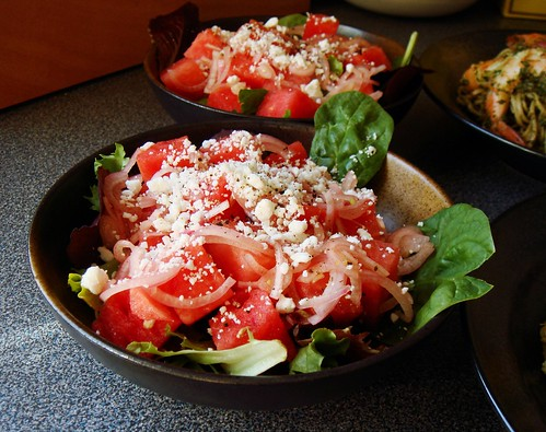 Watermelon Feta Salad on Greens with Pickled Shallot