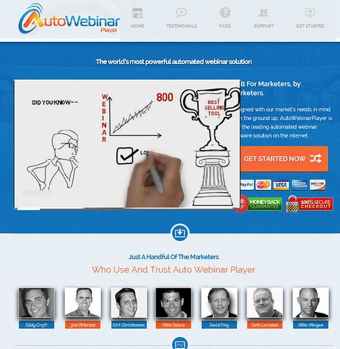 『Auto Webinar Player』(オートウェビナープレイヤー)の販売ページ(セールスレター)