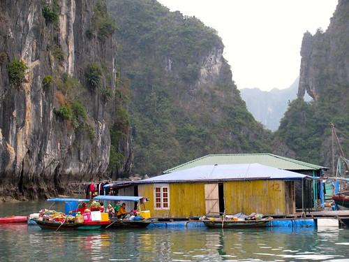 Pueblo flotante en la bahía de Halong