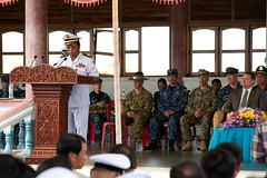 Adm. Tea Vinh, commander of the Royal Cambodian Navy, delivers remarks at the Pacific Partnership Cambodia closing ceremony. (U.S. Navy/MCC Greg Badger)