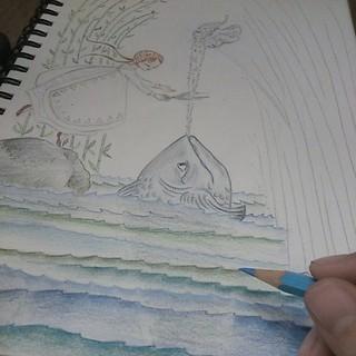La mer,  qu'on voit danser... #instantanébureau #illustration