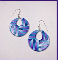 polymer clay Purple-Teal Hoop Earrings