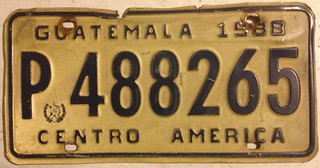 GUATEMALA 1988--- LICENSE PLATE PASSENGER