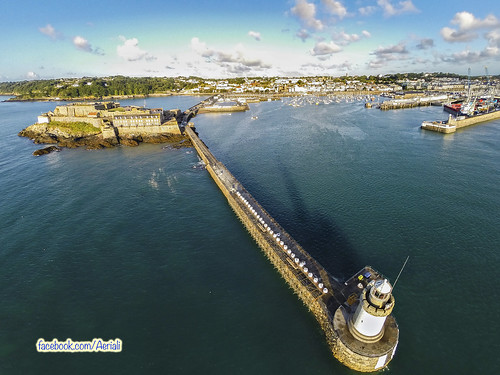 lighthouse st port sunrise harbour aerial peter guernsey breakwater