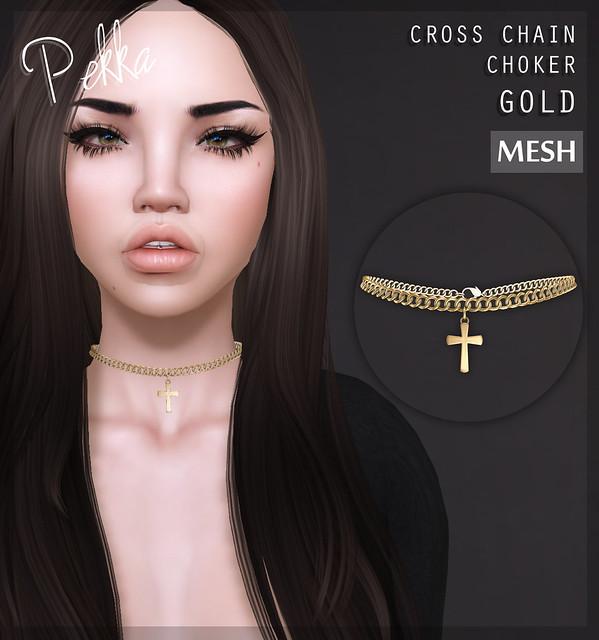 pekka cross chain choker gold