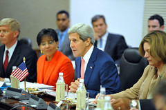 U.S. Secretary of State John Kerry thanks Indian Minister of External Affairs Sushma Swaraj and the Indian delegation for their hospitality during the plenary session of a Strategic Dialogue between the two countries in New Delhi, India, on July 31, 2014. [State Department photo/ Public Domain]