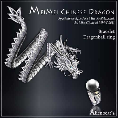 MeiMei Chinese Dragon Pt Bracelet and ball Ring pale
