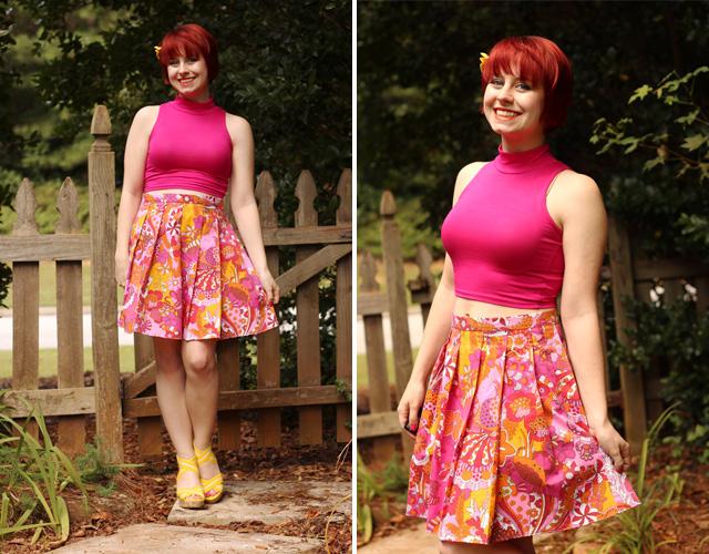 Pink Sleeveless Mock Turtleneck, Novelty Sea Print Skirt, and Yellow Wedges