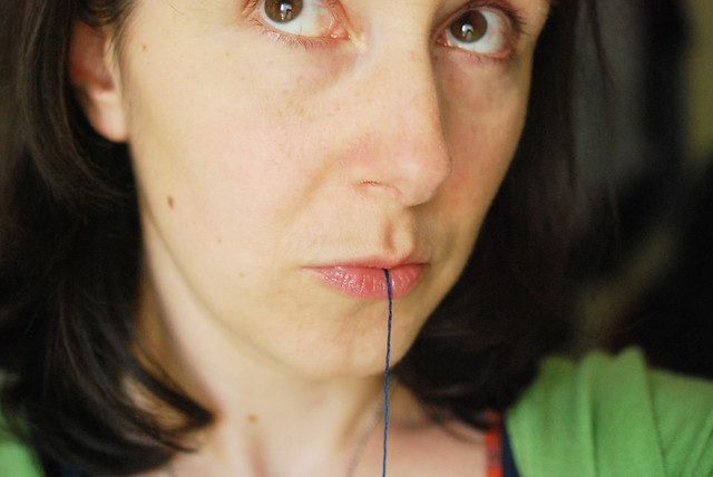 thread licking self portrait
