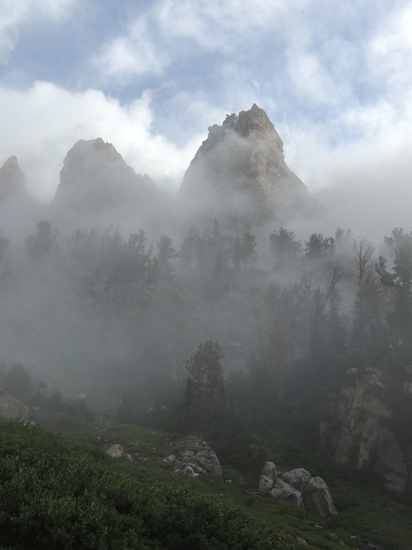 As we started up the trail to the Lower Saddle camp we saw mist enshrouding the spires of Disappointment Peak. This always adds an aura of mystery that an artist can appreciate.