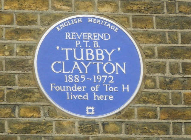 Philip Clayton blue plaque - Reverend P. T. B. 'Tubby' Clayton 1885-1972 founder of Toc H lived here.