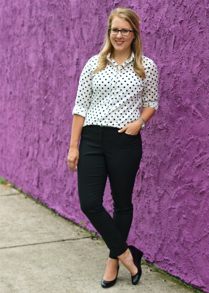 The Limited Ankle Pants + J.Crew polka dots