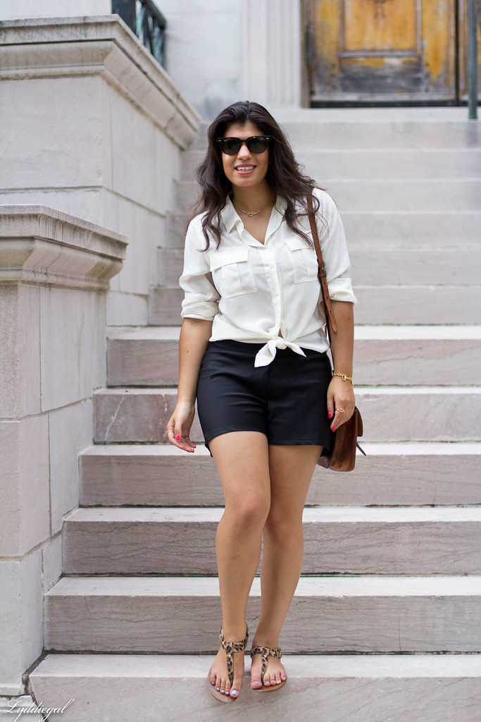 White Silk Blouse, Black Shorts, Leopard Sandals-3.jpg