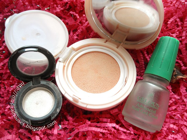 Empties Makeup Nails Eyeshadow MAC BB Cushion Etude House Base Gelous