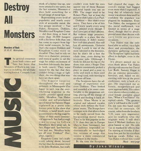 07/13/88 Monsters of Rock @ HHH Metrodome, Minneapolis, MN (Review 2/3)