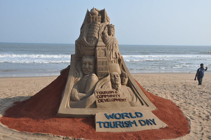 Sand sculpture on the eve of World Tourism Day by Sri Manas Kumar Sahoo
