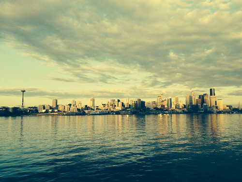 View while arriving at downtown Seattle via the Bainbridge Island Ferry