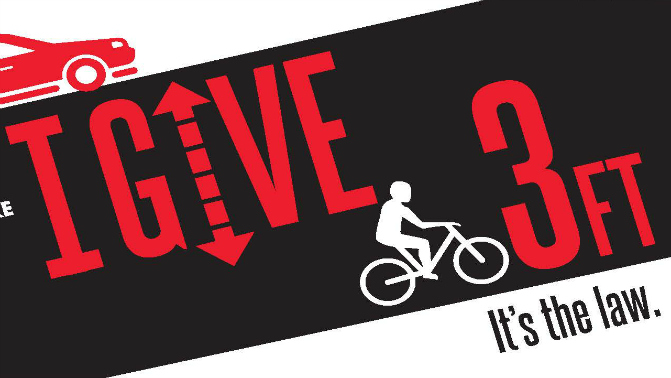 Logo promoting California's new 3-foot passing law when passing bicyclists