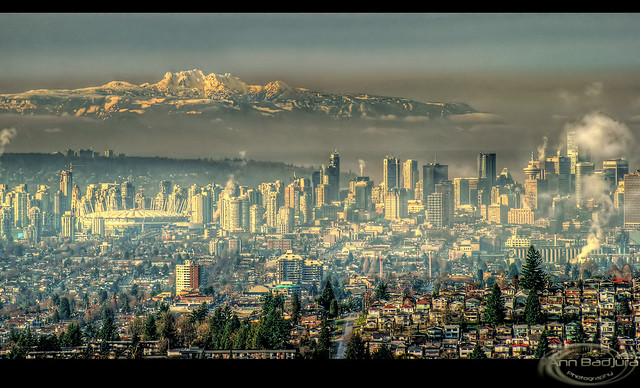 Zoomed in view from Burnaby Mountain Park, BC, Canada...HDR