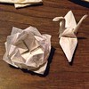 Paper napkin #origami #crane and #lotus - the sort of thing I end up doing at parties when the music is too loud to chat comfortably